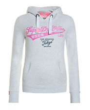 New Womens Superdry Tokyo Brand Entry Hoodie Ice Marl