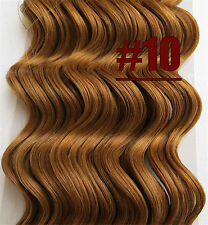 16''18''20''22''24'' Curly Wavy Clip in Real Human Hair Extensions Golden Brown