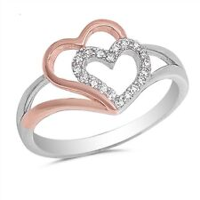 Two Hearts & Cubic Zirconia .925 Sterling Silver Ring Sizes 4-10