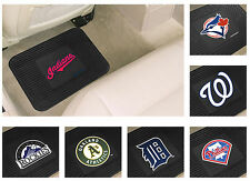New 2 Piece MLB Baseball Team Logo Themed Vinyl Car Rear Floor Rug Door Mat Set
