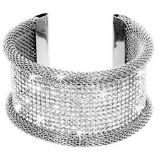 GOLD SILVER 10-Row Pave Crystal Hematite MESH Cz Bangle Cuff Statement Bracelet