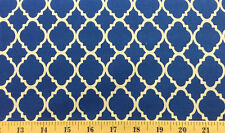 Blue Morroccan Quatrefoil Royal Blue Cotton Quilting Fabric Material  w4/30