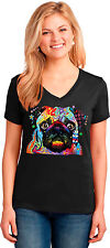 Pug Puppy Womens V Neck T Shirt Neon Art Dogs Pets Small to 3XL Free Shipping