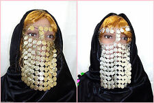HEAD BAND COINS FACE MASK VEIL TRIBAL BEDOUIN BURKA BORQA BELLY DANCE COSTUME