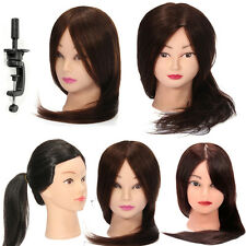Long Real Human Hair Salon Hairdressing Training Head Mannequin Doll Clamp UK
