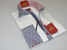 Mens AXXESS Wrinkle Free Cotton Shirt High Spread Collar 216-31 White Navy Cuffs