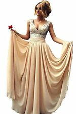 Sexy Lady's Deep V-Neck Sequin Top Chiffon Champagne Long Prom Dress Ball Gown