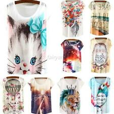 Sexy Women's Short Sleeve Loose Casual Animal Printed T-shirt Tops Blouse Shirts