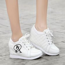 Fashion Women Wedge Heel Sneakers Athletic Sport Casual GYM Shoes Lace-up Size