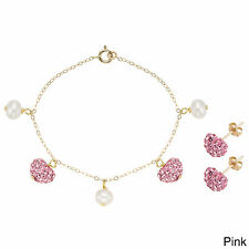Pearlyta 14k Gold Children's Freshwater Pearl Heart Charm Bracelet and Earring S
