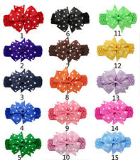 4 Inch Boutique Crochet Girls Baby Dot Pinwheel Hair Bow Headband Hairband lot
