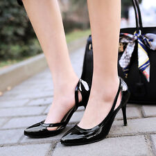NEW Womens Ladies High Heel Patent Leather Pointy Toe Loafers Stilettos Shoes