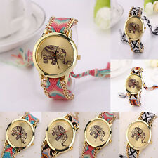 Lady Elephant Pattern Weaved Rope Bracelet Quartz Dial Wrist Watch наручные часы