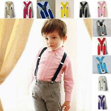 Adjustable Suspenders Kids Boys Elastic Clip-on Solid Color Y-Shape Braces E48