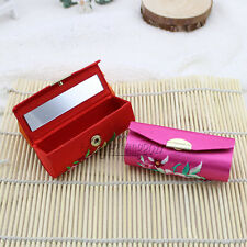 Wholesale Chinese Handmade Embroidered Luxury Silk Lipstick Box With Mirror