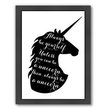 Americanflat Peach & Gold Always Be a Unicorn Framed Textual Art