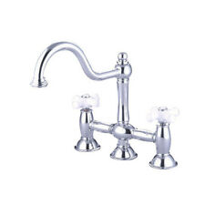 Double Handle Widespread Kitchen Faucet with Porcelain Cross Handles