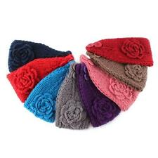 Winter Women Crochet Headband Knit Hairband Flower Ear Warmer Headwrap 4 Colors