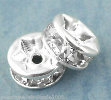 Wholesale Lots Silver Plated Rondelles Rhinestone Spacers Beads 6mm Dia.