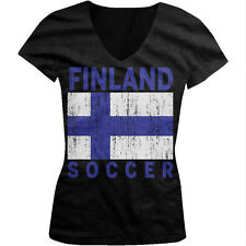 Distressed Finland Soccer Flag - Suomi Finnish Pride Juniors V-neck T-shirt