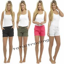 LADIES CASUAL BEACH WEAR LINEN SHORTS SUMMER HOLIDAYS  SIZE 10-18 c586a