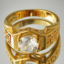 Vintage Womens Yellow Gold Filled Clear ball Crystal  Ring Eternity size 7-9 HOT