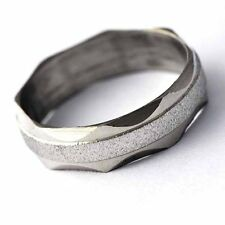 Fashion Jewelry Womens Mens Stainless Steel Scrub Ring Size7 8 9 10 11 couple