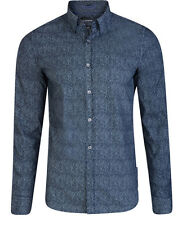 French Connection Long Sleeve Shirts New Slim Fit Blue Floral Print Cotton Shirt