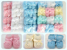 Crochet Booties Ribben Baby Newborn Pink White Blue Unisex 0-3 Month Pack of 12