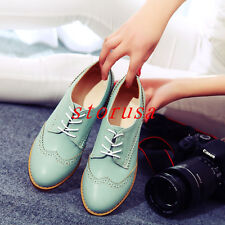 Retro Women Cuban Heel Vintage Sweet Candy Dress Lace Up Oxford Shoes All Size