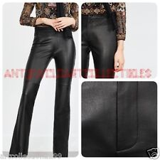 ZARA WOMAN  2016 BELL BOTTOM 100% LEATHER TROUSERS STUDIO COLLECTION R:5479/240