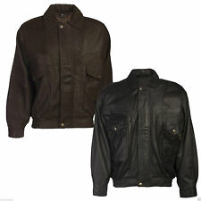Mens Leather Bomber Jacket Black Real 100% Genuine Everyday Style Fashion Warm