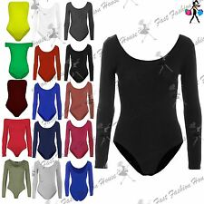 Womens Bodysuit Ladies Plain Long Sleeve Scoop Neck Jersey Stretchy Leotard Top