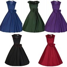 Vintage Hepburn Rockabilly Square Neck Pin Up Bowknot Prom Cocktail Party Dress
