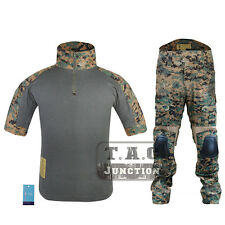 Emerson Summer Edition Combat Shirt & Pants Tactical BDU Uniform Set w/Knee Pads
