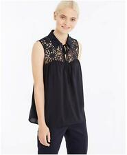 NWT Ann Taylor Lace Yoke Top Shell Blouse $69.50  Blue