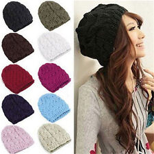 New Womens Lady Beret Beanie Wool Crochet Hat Winter Warm Braided Knit Ski Caps