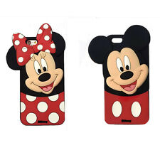 3D Hot cartoon head tilt big face mickey minnie lover mouse soft case For Iphone
