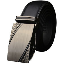 Fashion Mens Genuine Leather Black Alloy Automatic Buckle Waist Strap Belts New