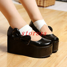 Sweet Women Wedge Heel Platform Shoes School Girls Bowknot Patent Leather Loafer