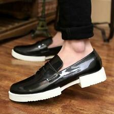 Mens Casual Shoes Patent Leather Creeper Cuba Heels Slip On Loafers Oxfords Size