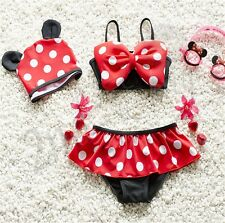 3pcs Toddler Baby Girls Kid Swimwear Bikini Skirts Tankini Polka Dots Swimsuits