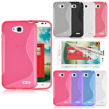 Soft TPU Rubber S-Line Case Cover Skin + Screen Protector for LG Optimus L90