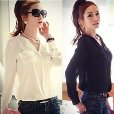 Fashion New Womens Long Sleeve OL Career Chiffon Button Down Shirt Top Blouse