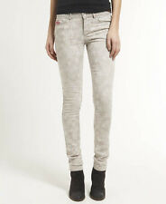 New Womens Superdry Standard Skinny Jeans Grey Palm Lazer