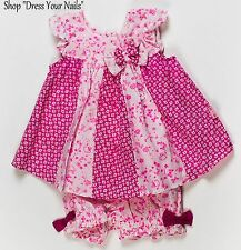 Baby Dress + Bloomer Set Sweet Elegance Double Neon Pink/White Panel Swing Dress