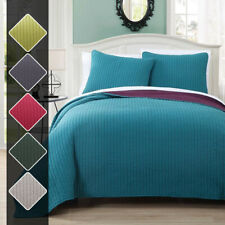 Reversible Modern Project Runway Coverlet, Super Soft Elegant Quilt & Shams Set