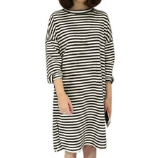 Women Round Neck Split Sides Loose Striped Dress