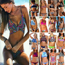 Womens Crystal Bikini Set Push Up Swimwear Padded Swimsuit Top Bottom High Neck