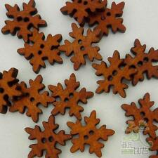 20/100pcs Brown Wood Buttons Snowflake Lot 18x18mm Craft/kids Sewing Cards